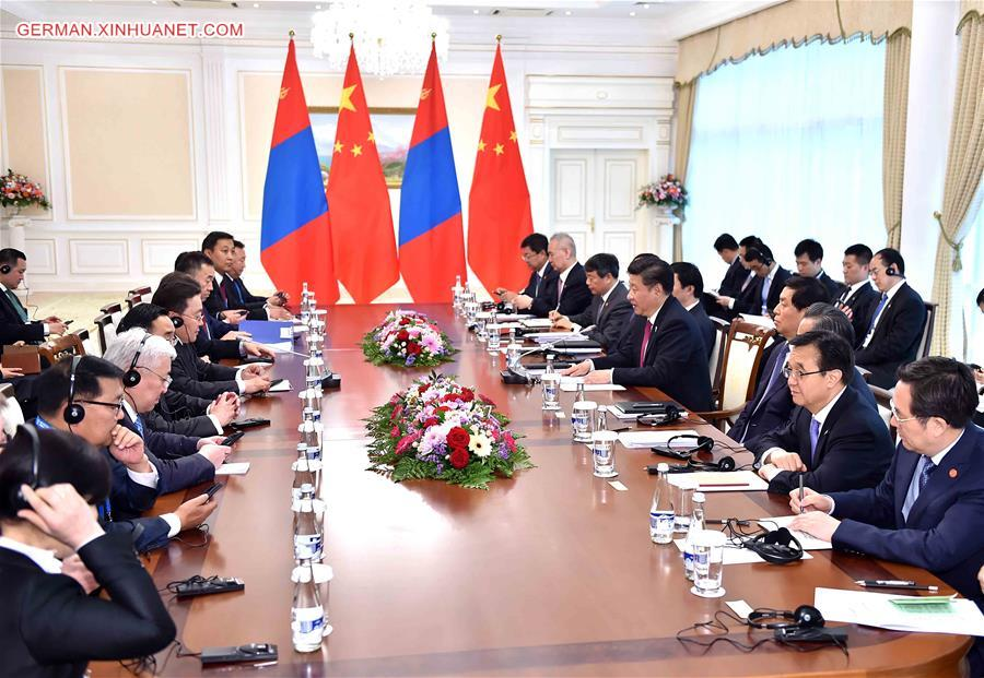 UZBEKISTAN-CHINA-XI JINPING-MONGOLIAN PRESIDENT-MEETING