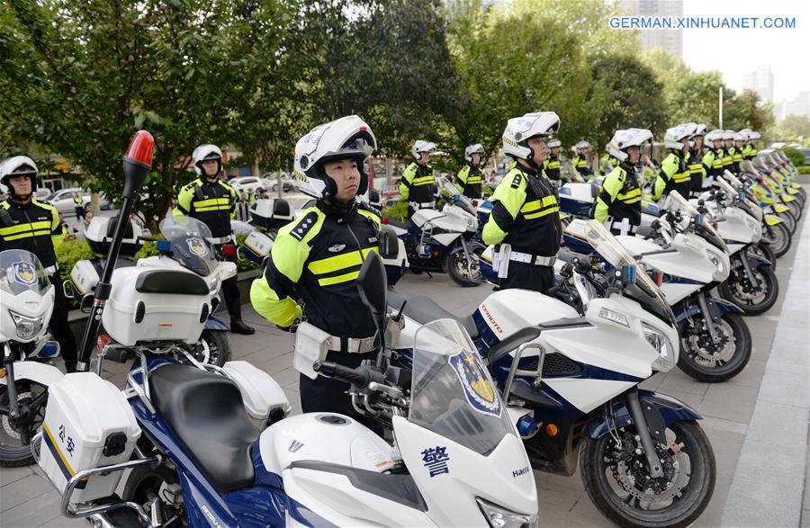 Verkehrspolizei-Motorrad-Team in Xi\'an - Xinhua | german.xinhuanet.com