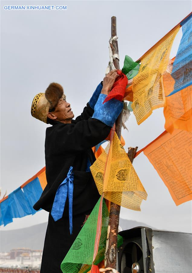 CHINA-TIBET-LHASA-TIBETAN NEW YEAR-PRAYER FLAGS (CN)