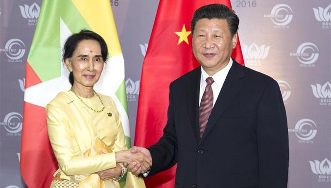 Xi trifft Aung San Suu Kyi in Goa