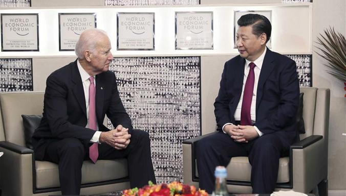 Xi Jinping trifft US-Vizepräsidenten Joe Biden in Davos