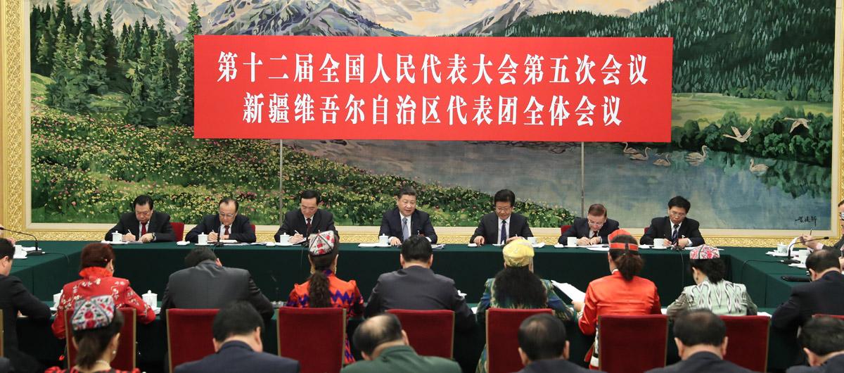 Xi Jinping nimmt an Podiumsdiskussion mit Delegierten des 12. NVK aus Xinjiang teil