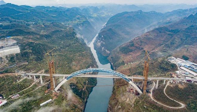 Yachihe-Brücke der Hochgeschwindigkeitsbahn Chengdu-Guiyang bis Ende 2019 fertiggestellt
