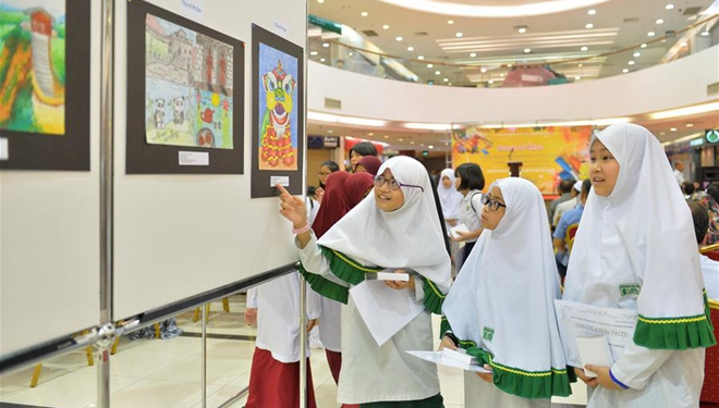 """Ausstellung der Siegerwerke des Malwettbewerbs """"Beauty of China"""" in Brunei abgehalten"""