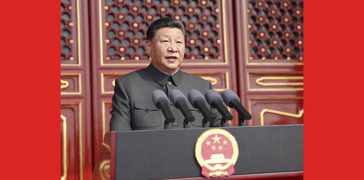 Xi hält Rede bei großer Kundgebung zur Feier des 70. Gründungsjahrestages der Volksrepublik China