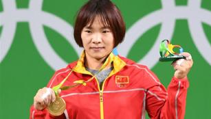 Xiang Yanmei gewann beim Finale des 69KG-Gewichthebens der Frauen Goldmedaille
