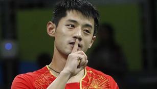 Zhang Jike beim Halbfinale des Herreneinzels im Tischtennis