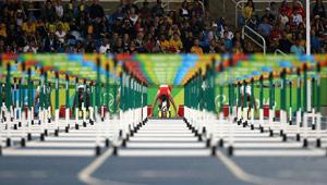 Vorlauf der 110m-Hürden der Männer