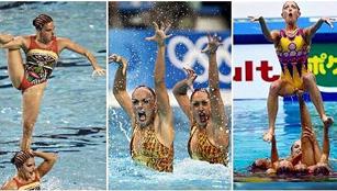 Lustige Gesichtsausdrücke der Synchronschwimmerinnen