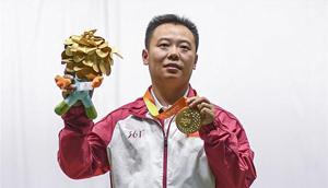 Dong Chao holt Gold beim Männer R1 10m Luftpistole Finale der Paralympischen Spiele in Rio