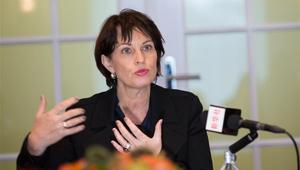 Schweizer Bundespräsidentin Doris Leuthard nimmt Interview mit Xinhua an