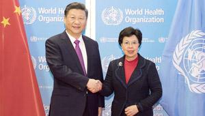 Xi Jinping trifft Generaldirektorin der WHO Margaret Chan in Genf