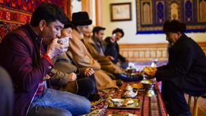 Ein Teehaus in Kaschgar in Xinjiang