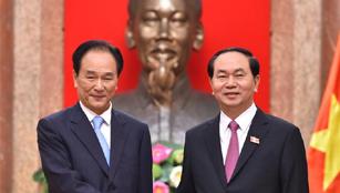 Vietnams Präsident trifft den Präsidenten der Nachrichtenagentur Xinhua in Hanoi