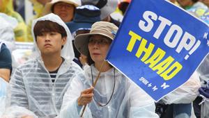 Demonstranten protestieren gegen THAAD-Stationierung in Seoul