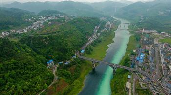 Luftaufnahme des Wirtschaftsgürtels Jangtse Fluss