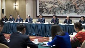 Liu Yunshan nimmt an Podiumsdiskussion mit den Delegierten aus Yunnan teil