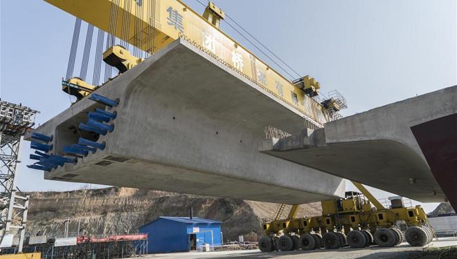 Bau der Eisenbahnstrecke zwischen Wuhan und Shiyan in Provinz Hubei