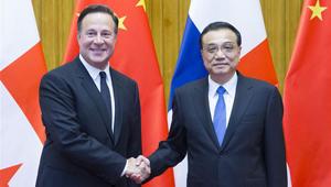 Li Keqiang trifft den panamaischen Präsidenten Juan Carlos Varela in Beijing