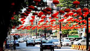 Dekorationen zum Chinesischen Mond-Neujahr in Yangon