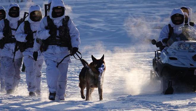 Soldaten bleiben trotz harter Kälte auf ihren Posten