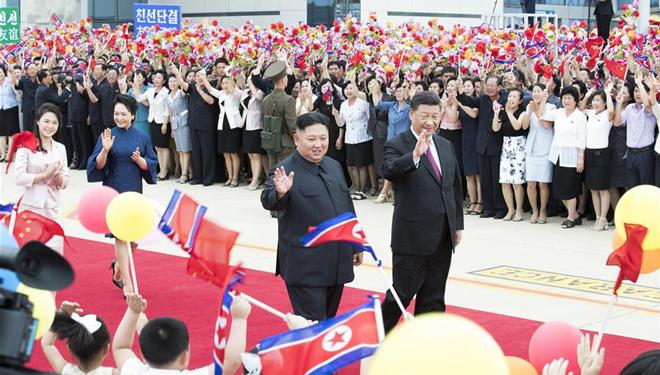 Xi Jinping und Peng Liyuan nehmen an Abschiedszeremonie in DVRK teil