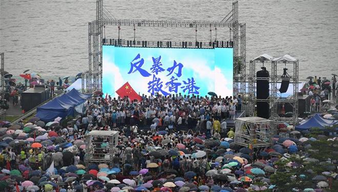 Über 470.000 Menschen in Hongkong lehnen Gewalt ab