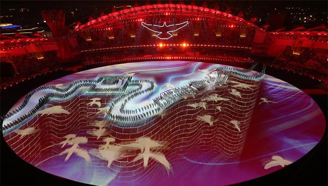 Künstlerische Aufführung während Eröffnungsfeier der 7. Militärweltspiele dargeboten