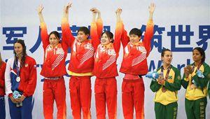 7. Militärweltspiele: Chinesisches Team gewinnt Goldmedaille beim 4 x 100 Meter Freistilstaffelschwimmen der Frauen
