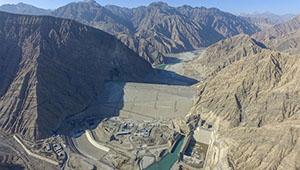 Staudamm des Aratax-Wasserschutzprojekts in Chinas Xinjiang