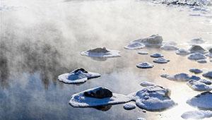 Winterlandschaft des Halha-Flusses in Arxan von Innerer Mongolei