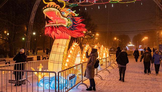 Festival der chinesischen Laternen in Moskau von Russland organisiert