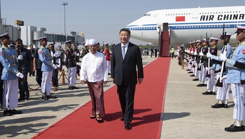 Xi kommt in Nay Pyi Taw für Staatsbesuch in Myanmar an