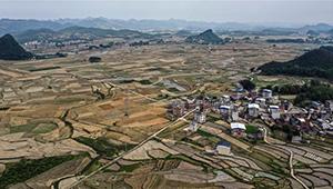 Luftansicht der Gemeinde Tantou in Chinas Guangxi