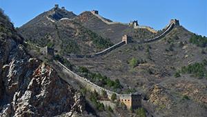 Frühlingslandschaft der Großen Mauer in Beijing
