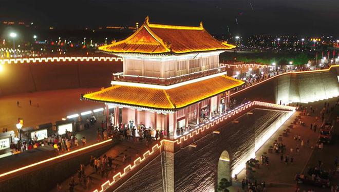 Nachtansicht der antiken Gemeinde Zhengding in Hebei