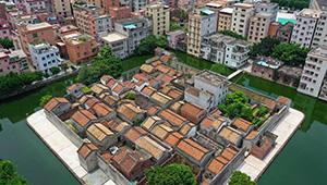Ansicht der Dorffestung Nishui Liugui in Chinas Guangdong