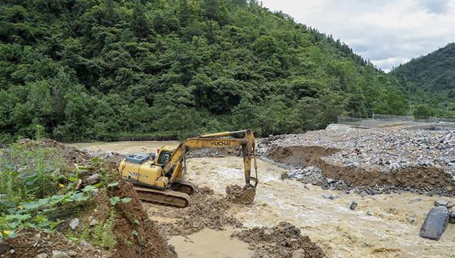 Teile der Stadt Chongqing von heftigen Regengüssen heimgesucht