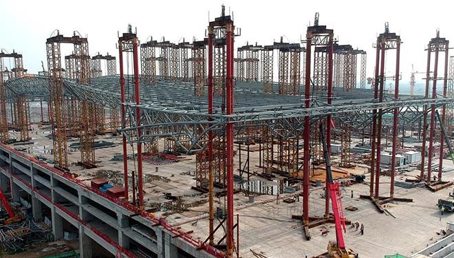 Baustelle des Südbahnhofs Zhengzhou in Zhengzhou von Chinas Henan