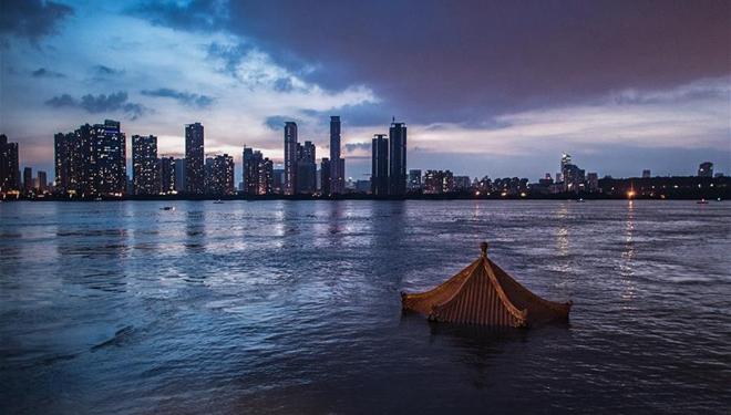 Wasserstand des Jangtse in Hankou von Wuhan sinkt