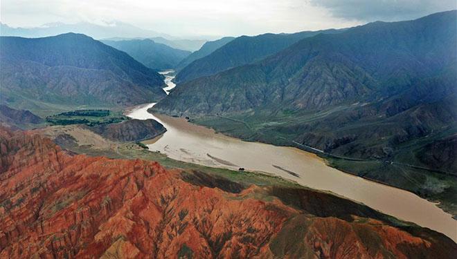 Ansicht des Gelben Flusses in Chinas Qinghai