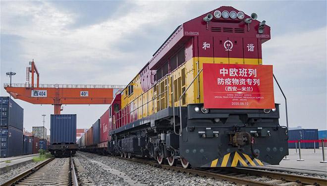 Güterzug mit antiepidemischer Versorgung fährt von Chinas Xi'an nach Italien