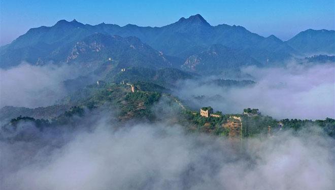 Ansicht der Chinesischen Mauer in Chinas Hebei