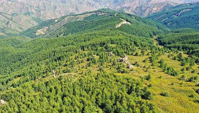 Landschaft des Sumu-Berg-Waldparks in Innerer Mongolei