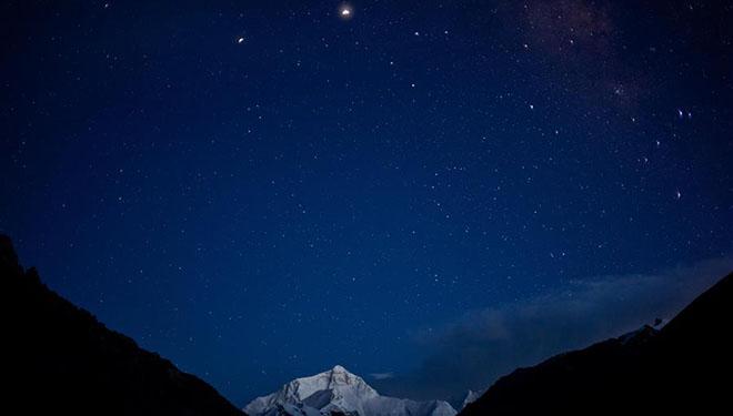 Ansicht des Bergs Qomolangma
