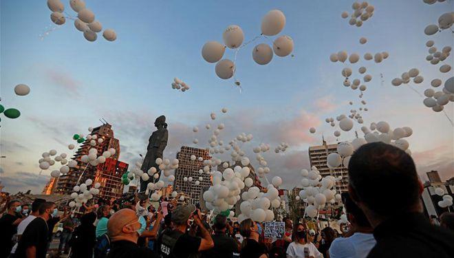 Zeremonie anlässlich der Hafenexplosionen in Beirut abgehalten