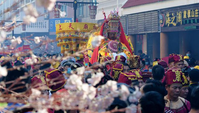 Parade zur Mazu-Verehrung in Meizhou von Chinas Fujian abgehalten