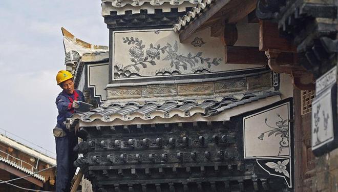 Alte Gebäude in Jing'an in Ostchinas Jiangxi renoviert