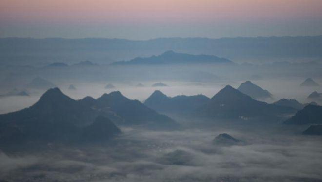 Wolkenmeer in der Gemeinde Biancheng in Hunan