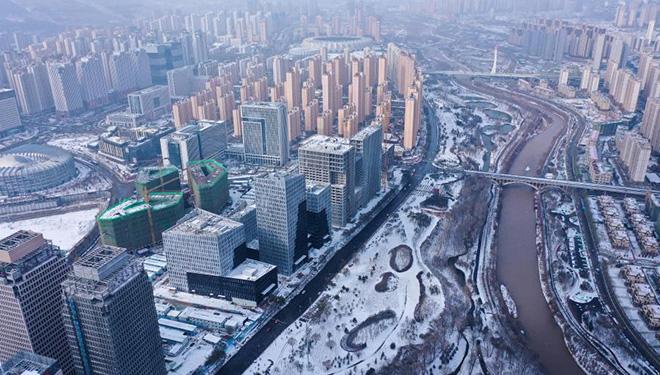 Schneelandschaft der Stadt Xining
